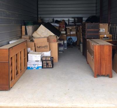 Starkville  Self Storage Auction #82575 - Image 1 antiques,boxes,furniture,shelves