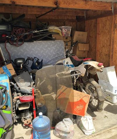 Hanford  Self Storage Auction #84844 - Image 1 boxes,Holiday Decor,motorcycle,sports & outdoors